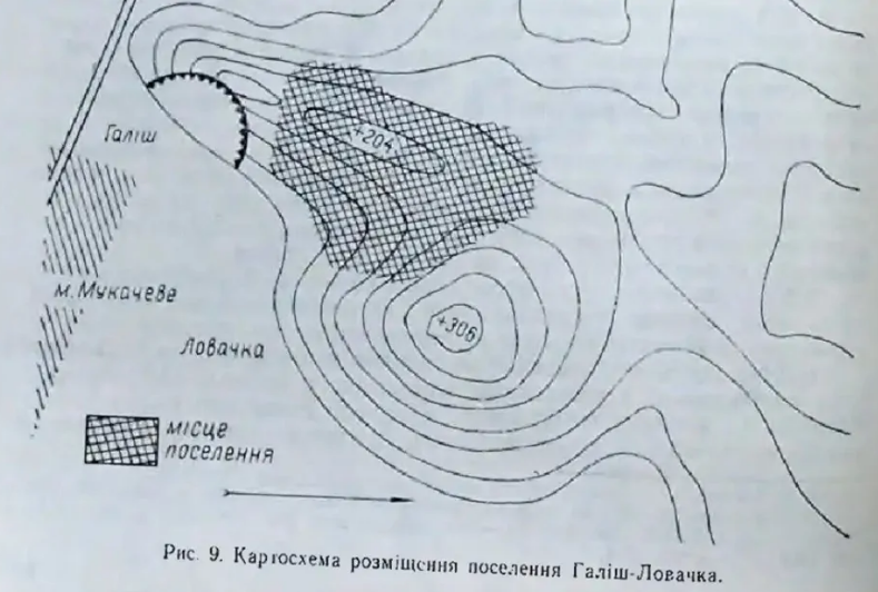 Карта розміщення поселення Галіш-Ловачка