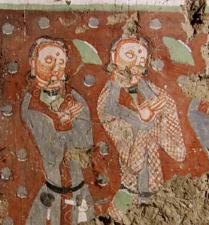 Donor figures from Kizil Caves