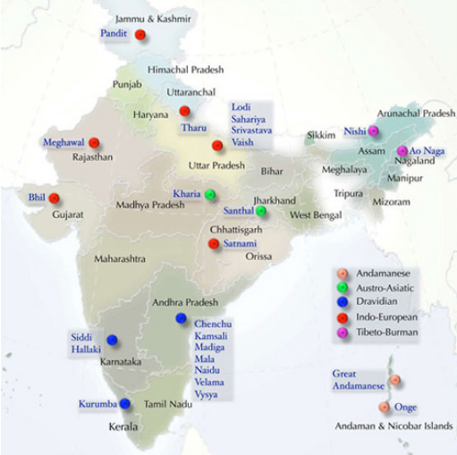 DNA India map