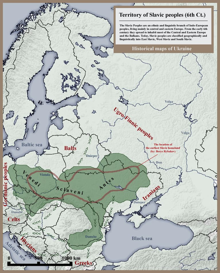 Slavic peoples 6th century historical map
